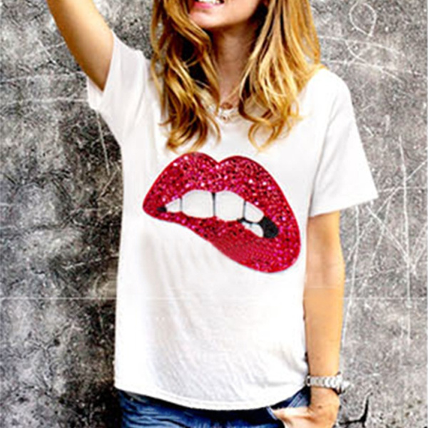 Picture of Fashion Womens Casual Blouse Short Sleeve Shirt T-shirt Summer Blouse Tops