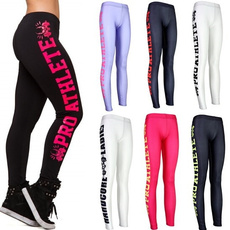 Sexy 2017 Side letters Sports Pants Force Exercise Women Sports Yoga Tights Elastic Fitness Running Trousers Slim Aerobics Pants