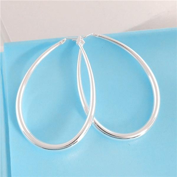 Picture of Promotion 1pair 925 Sterling Silver Trendy Lady's Hoop Drop Earrings
