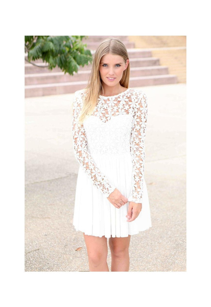 Long White Graduation Dresses with Sleeves