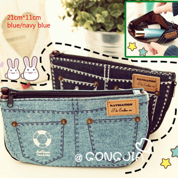 Picture of New Chic Canvas Jeans Pencil Case Makeup Bag Cosmetic Pouch Purse