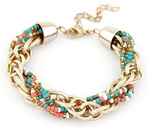 Picture of Metal Chain Beaded Bracelet Woven Bracelet