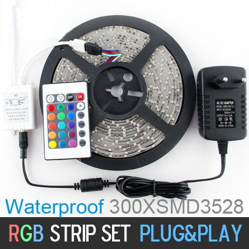 Picture of 5m 300 Led 3528 Rgb Color Changing Waterproof Fleixble Strips Set + 24 Keys Ir Remote Controller + 12v 2a 24w Power Adapter