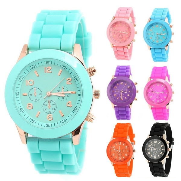 New Unisex Women Mens Boys Girls Geneva Silicone Jelly Sports Quartz Wrist Watch