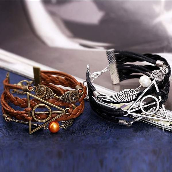 Picture of 1pcs Charming Braid Leather Bracelet Angel Wings Snitch Harry Potter Deathly Hallows Owl Chain New
