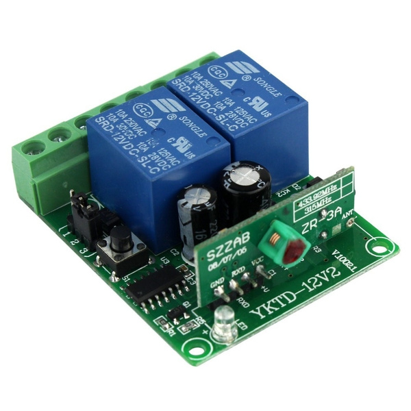 12V 2 Channel RF Wireless Remote Control Receiver Relay Module Switch  433MHz Learning Code F4139A433@SKL