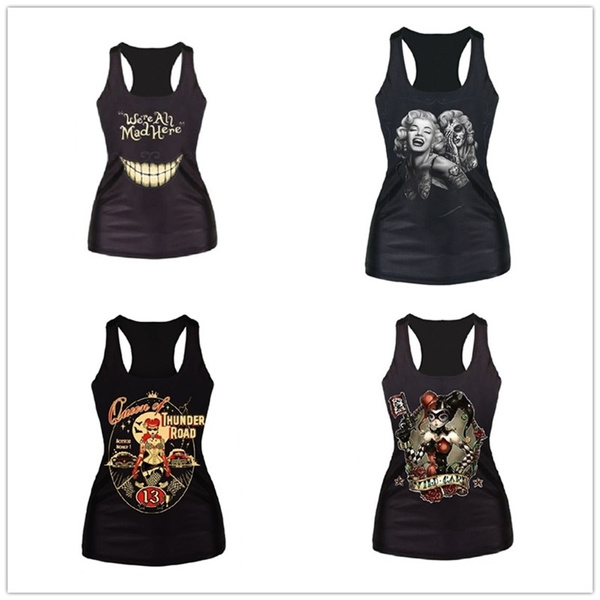 Picture of We're All Mad Here Black Digital Printed Punk Women Vest Sexy Tank Tops Size M Color Black