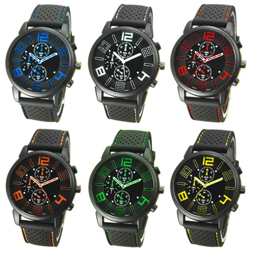 Picture of Casual Quartz Analog Silicone Stainless Steel Dial Sports Wristwatch