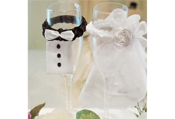 Wedding Decoration New Year Christmas Wedding Party Decoration A Couple of Bridegroom&Bride Type Wineglass Cover