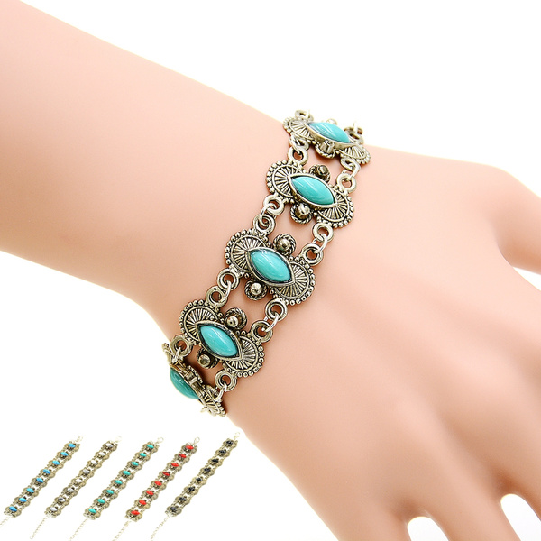 Picture of Bohemian Stylish Sexy Hollow Out Stone Studded Bracelet Wrist Band
