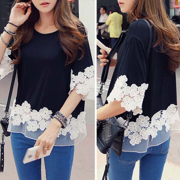 Picture of Women Casual Lace Splicing T Shirt Short Sleeve Blouse Tops