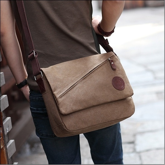 Picture of Man's Messenger Bag Canvas Bag Inclined Satchel Hobo