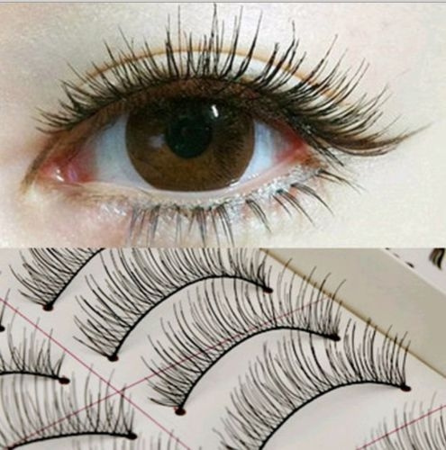 Picture of 10 Pairs Soft Natural Cross Handmade Eye Lashes Makeup Extension False Eyelashes Color Black