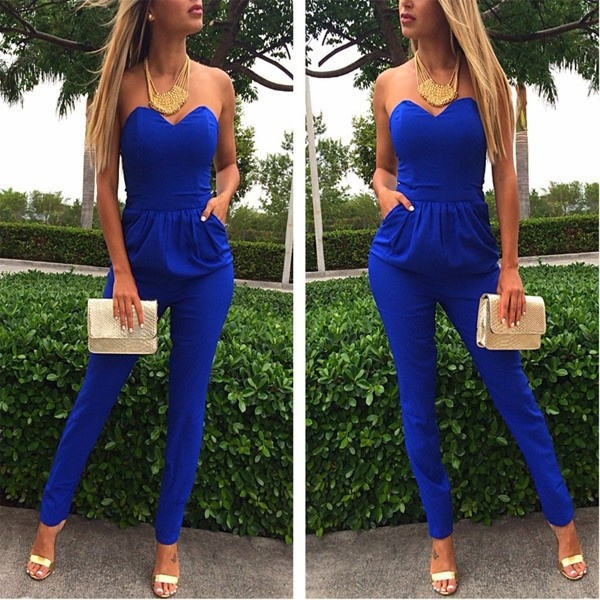 Picture of Women Casual Slim Style V Neck Sleeveless Sexy Jumpsuits Strapless Tube Top Women Jump Suit Pleated Pants