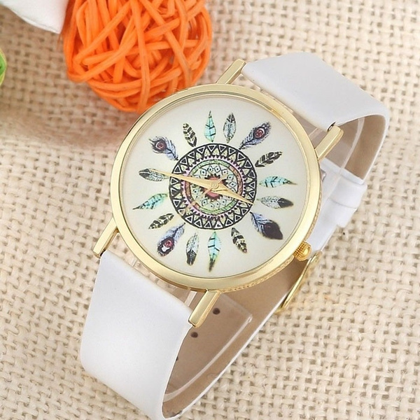 Picture of Womens Vintage Feather Dial Leather Band Quartz Analog Unique Wrist Watches