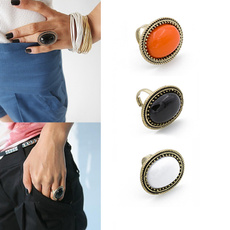Retro Oval Gemstone Ring Red, Black, Orange Crystal Ring Gold Plated Ring Women Fashion Jewelry