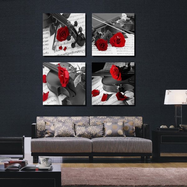 Wish 4 Piece Canvas Wall Art Office Black And White Pictures Red Flower Instrumental Music Decor