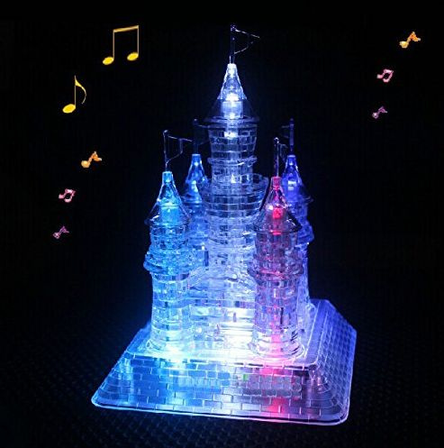 Picture of 3d Crystal Castle Puzzle - 3d Jigsaw Light-up Musical105pcs Color White