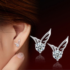 Cute Women's 925 Sterling Silver Angel Wings Crystal Rhinestone Ear Stud Earrings Jewelry