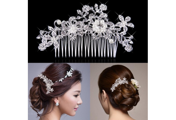 Hair Accessories Beautiful Hair Comb Pin Clip Bridal Prom Silver Wedding Flower Pearls Crystal