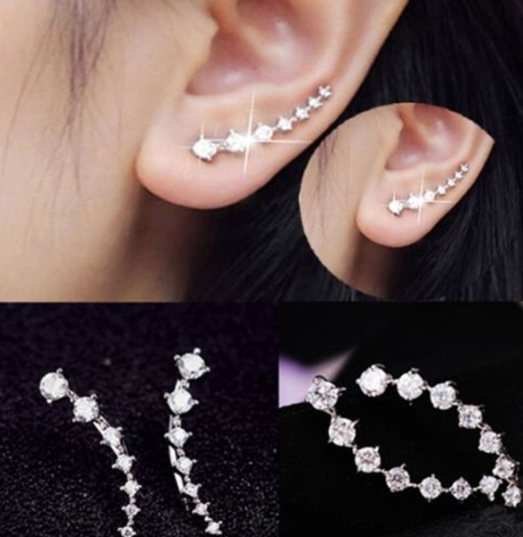 New Four-Prong Setting 7pcs CZ Diamonds 18K Gold Plated Ear Hook Stud Earrings Jewelry Trendy Jewelry Women Accessories