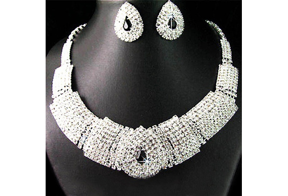 Lady Women's fashion Wedding Party Black Crystal silver Pendant Necklace Earrings Korean Dress Jewelry Set New Design ssldd