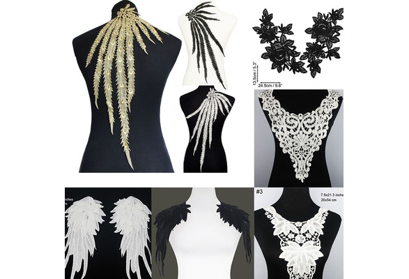 1PC New Long Peacock Feather Angle Wings Motif Venise Lace Trim Lady Dress Decoration Gold/Black/Off white
