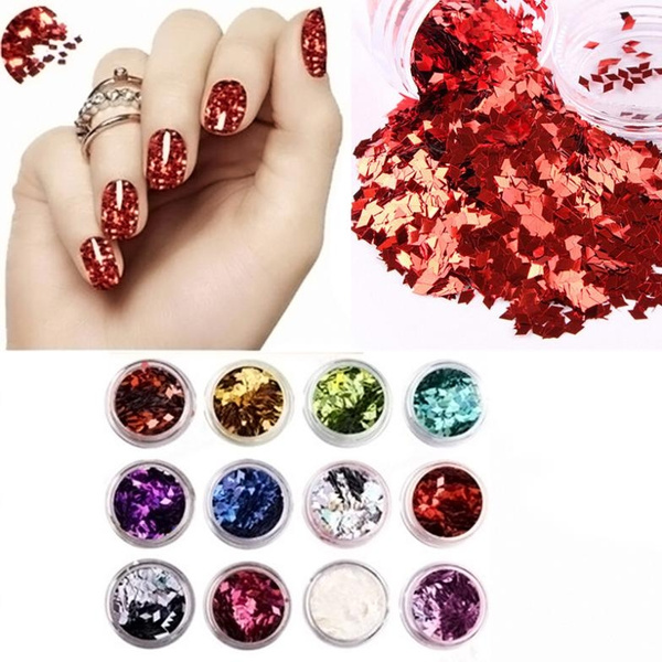 12 pcs Colors Nail Art Acrylic 3D Glitter Powder  Decoration DIY