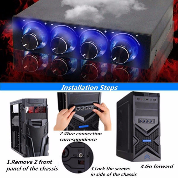"""3.5/"""" PC HDD CPU 4 Channel Fan Speed Controller Control Led Cooling Front Panel"""