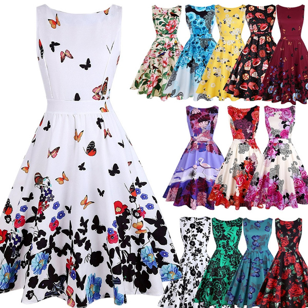 Swing dress, sleeveless, Flowers, Floral print