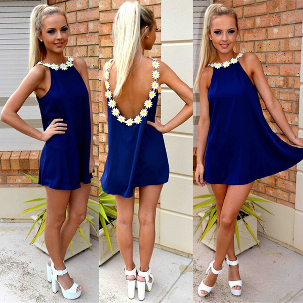 Picture of Elegant Flower Strap Collar Loose Party Dress Women Sexy Backless Vestidos Mini Dress