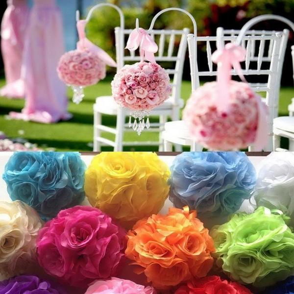 Picture of 5pcs/lot Artificial Silk Flower Rose Balls Wedding Centerpiece Pomander Bouquet Party Decorations