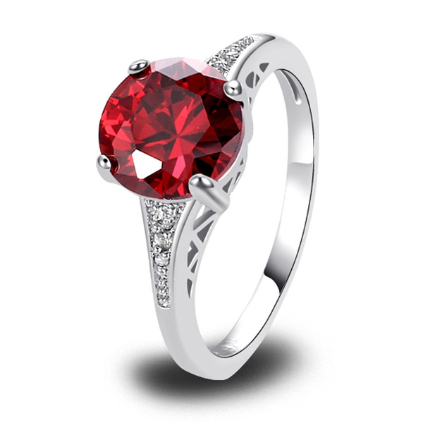 Picture of Fashion Handmade Women Red Garnet Jewelry Gems 925 Silver Ring