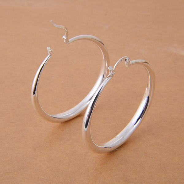 Picture of Fashion Jewelry New 925 Sterling Silver Hoop Earrings