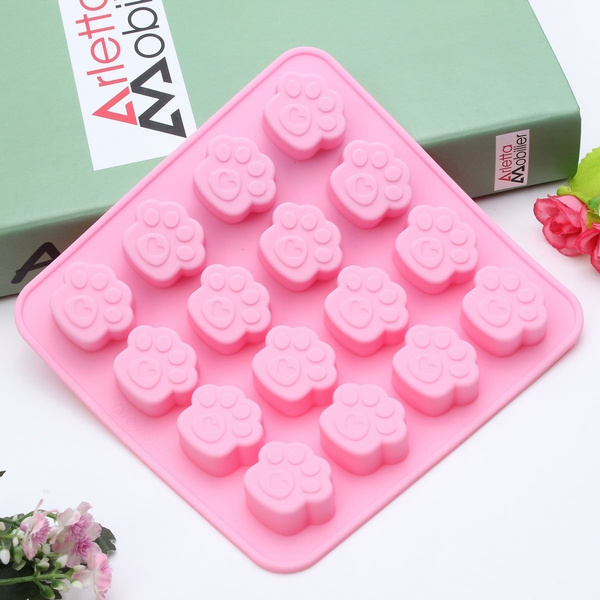 Silicone Dog Cat Paw Print Bakeware Mould Chocolate Cookie Soap Resin Wax  Mold AP