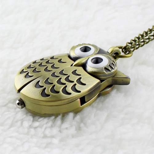 Hot New Unisex Vintage Slide Owl Pendant Long Necklace Pocket Watch Gift