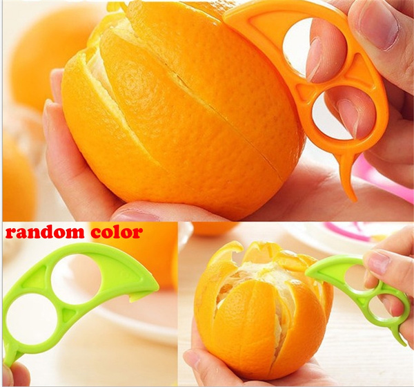 Picture of 5pcs/lot Candy Color Easy Practical Lemon Peeler Slicer Cutter Plastic Clever Open Peel Orange Apparatus