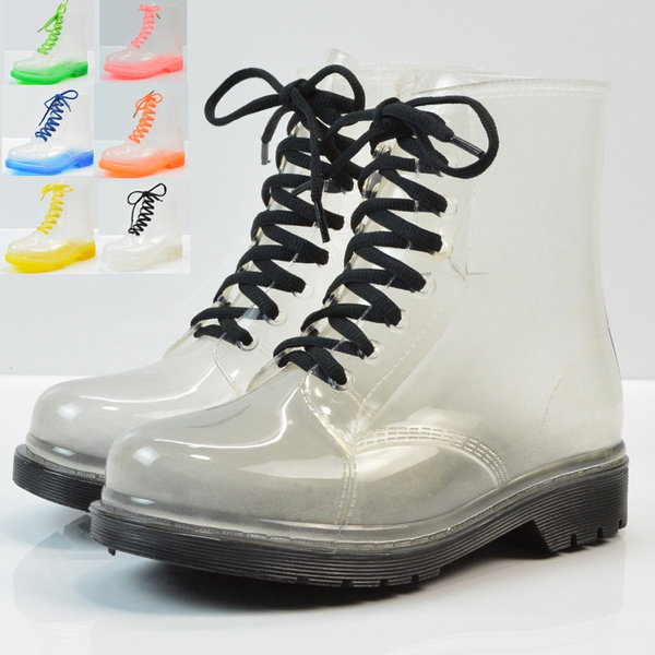 Clear Rain Ankle Boots Jelly Martin Lace up Flat Rubber Wellies Rainshoes Womens