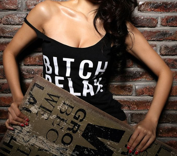 Picture of Dance Fitness Women Tank Tops Letter Bitch Relax Printed Sexy Vest