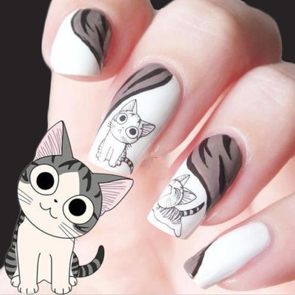 Wish | Fashion DIY Stereoscopic 3D Nail Stickers Cute Kitten ...