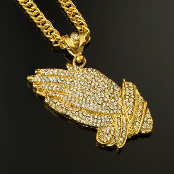 825ff5f012d96 Men's 18K Gold Plated Iced Out Praying Hands With Diamond Cuban Chain  Necklace Jewelry