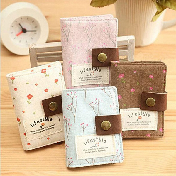Picture of Country Style Floral Credit Card Holder Women Id Card Wallet Cash Holder Canvas Holder Bag