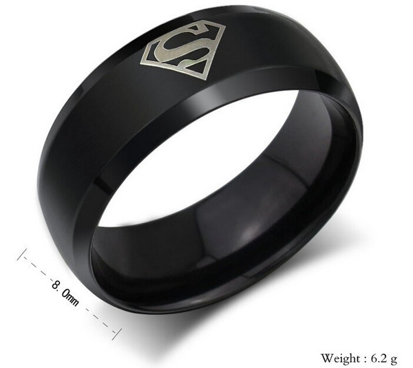 Wish 2015 New Superman Fashion Ring Stainless Steel Wedding