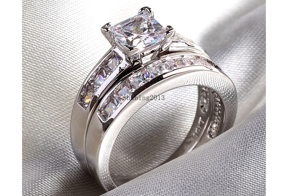 Bridal Sets 10kt White Gold Filled Princess Cut 5*5MM 1CT CZ Topaz Women's Wedding Ring Band 2 in 1
