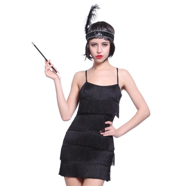 WOMENS BLACK FRINGE FLAPPER DRESS AND HEADBAND 1920S 1930S FANCY DRESS COSTUME