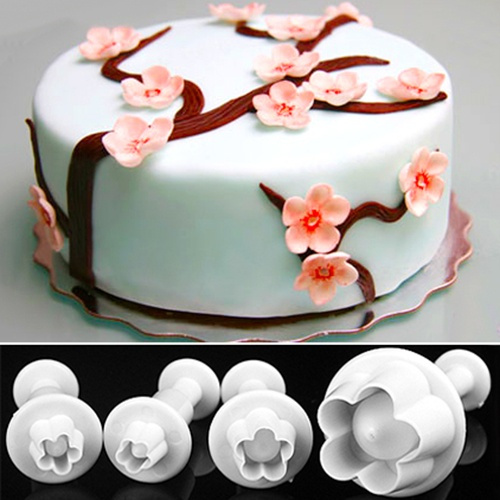 Picture of Unique Design 4pcs Plum Flower Plunger Fondant Mold Cutter Sugarcraft Cake Cookie Decorating Eas Size One Size