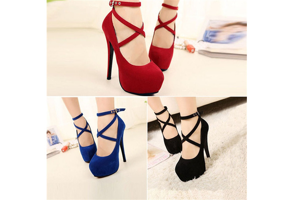 Fashion Women Sexy Pure Color Pumps Platform Strappy Buckle Stiletto High Heels Wedding Party Shoes