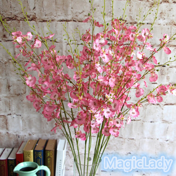 Picture of New Fashion Creative 1 Bouquet Artificial Orchid Silk Flower Leaf Home Wedding Garden Decor Gifts