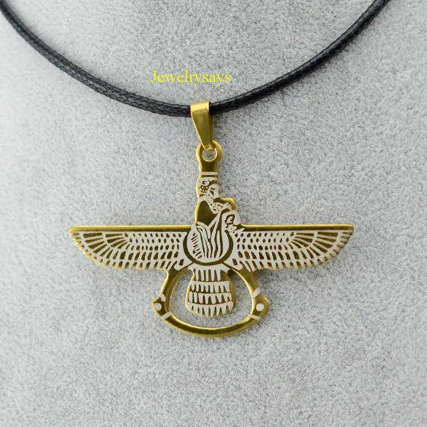 Wish | Gold+Stainless Steel Persian Pendant & Rope Neck ...