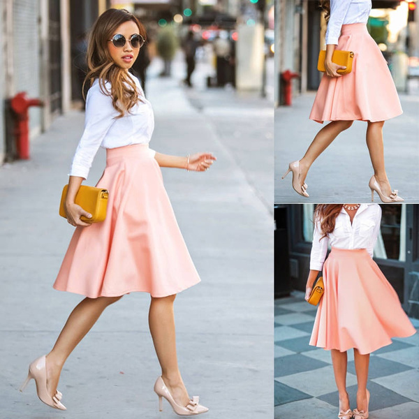 Picture of Fashion Women A-line Pleated Polyester Midi Skirts Office Ladies Ball Dresses